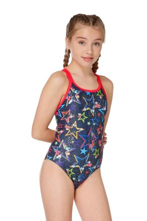 Ditsy Stars Girls Swimsuit - Black