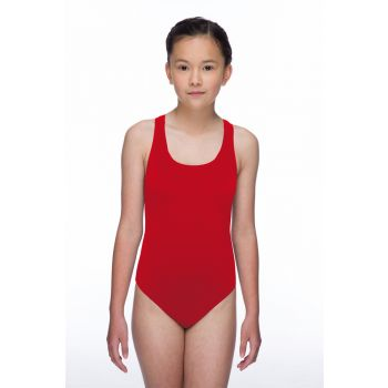 Solid Pacer Open Back Girls Swimsuit (Red)