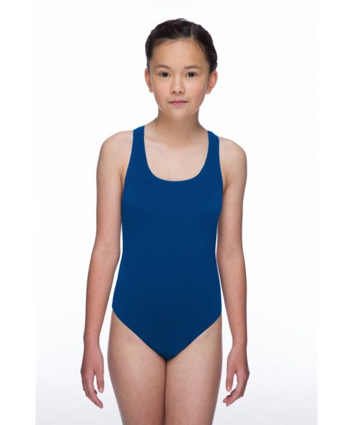 Solid Pacer Open Back Girls Swimsuit (Royal Blue)