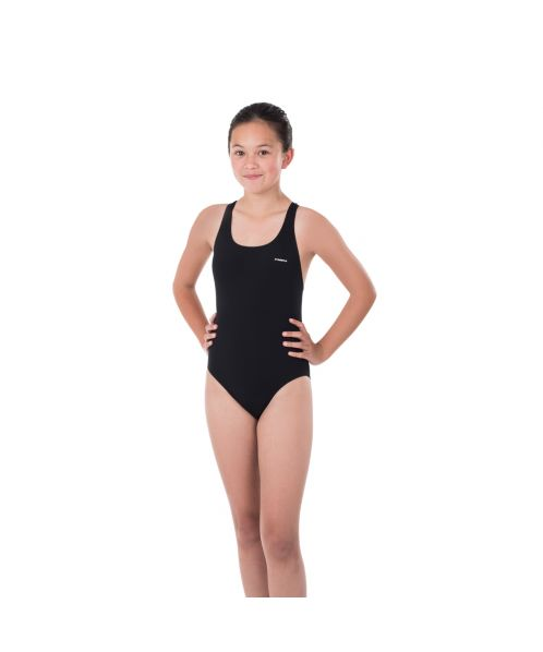 Solid Pacer Open Back Girls Swimsuit