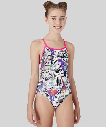 Neon Safari Girls Swimsuit