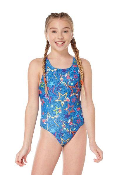 Ditsy Stars Girls Swimsuit - Blue