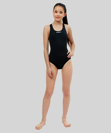 Girls Solid Racer Back (Black)