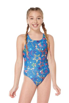 Ditsy Stars Girls Swimsuit - Blue